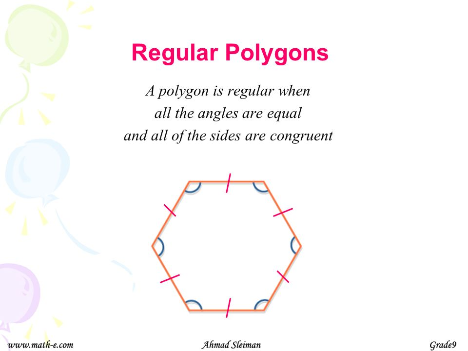 A polygon with no side points inwards when extended Convex Polygons Concave Polygons A polygon with at least one side points inwards when extended. (T
