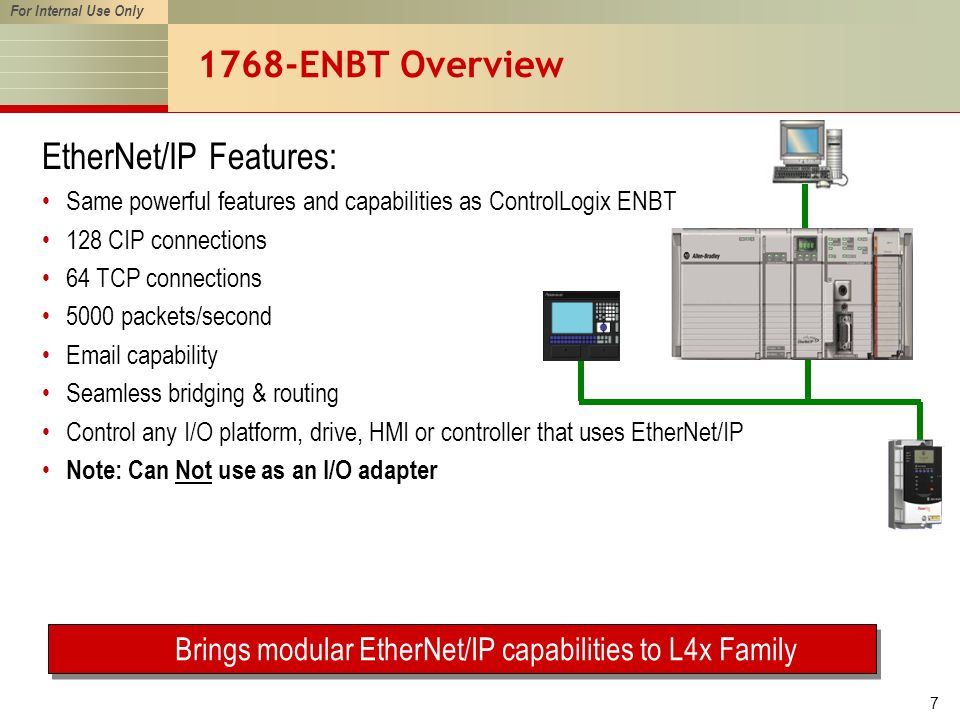 For Internal Use Only 7 1768-ENBT Overview EtherNet/IP Features: Same powerful features and capabilities as ControlLogix ENBT 128 CIP connections 64 TCP connections 5000 packets/second Email capability Seamless bridging & routing Control any I/O platform, drive, HMI or controller that uses EtherNet/IP Note: Can Not use as an I/O adapter Brings modular EtherNet/IP capabilities to L4x Family