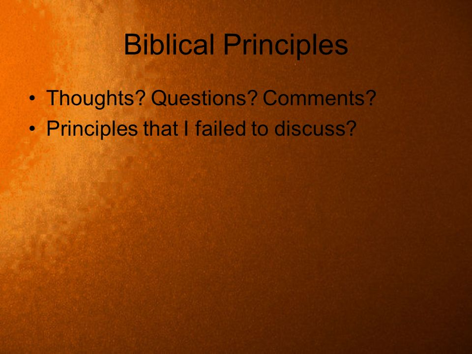 Biblical Principles Thoughts? Questions? Comments? Principles that I failed to discuss?