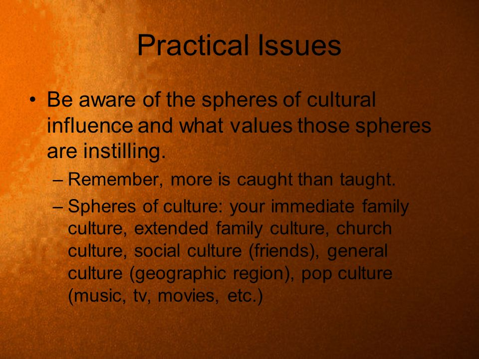 Practical Issues Be aware of the spheres of cultural influence and what values those spheres are instilling. –Remember, more is caught than taught. –S