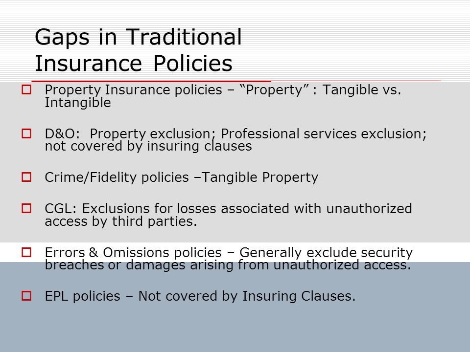 Gaps in Traditional Insurance Policies Property Insurance policies – Property : Tangible vs. Intangible D&O: Property exclusion; Professional services