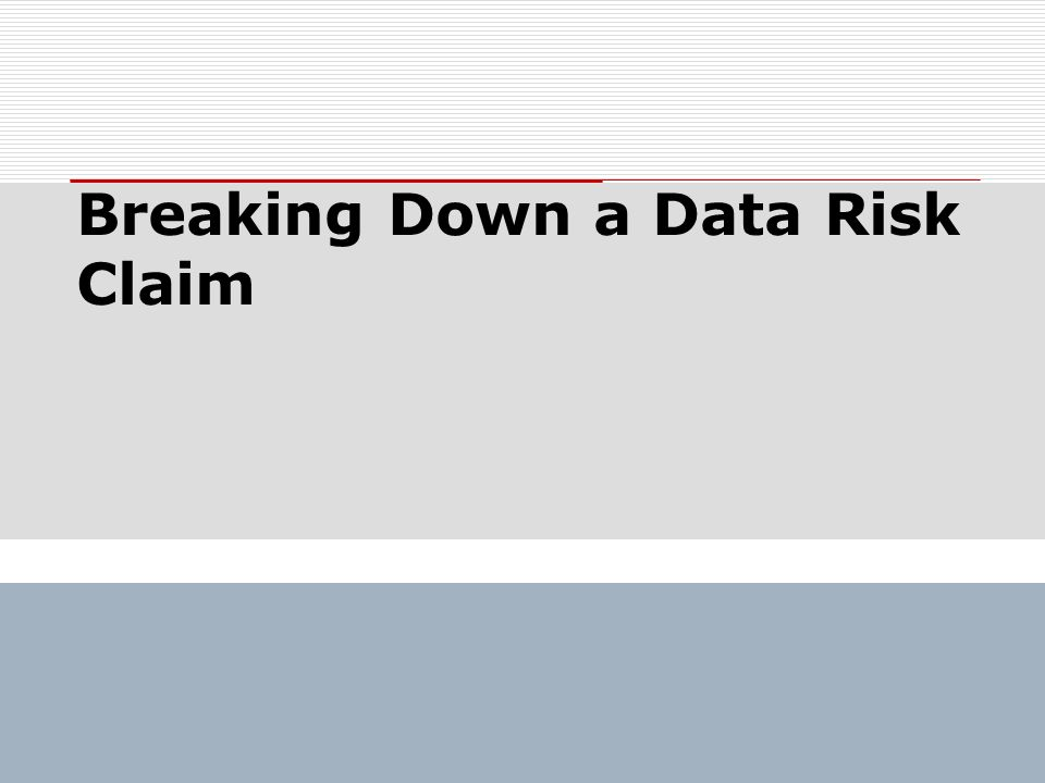 Breaking Down a Data Risk Claim