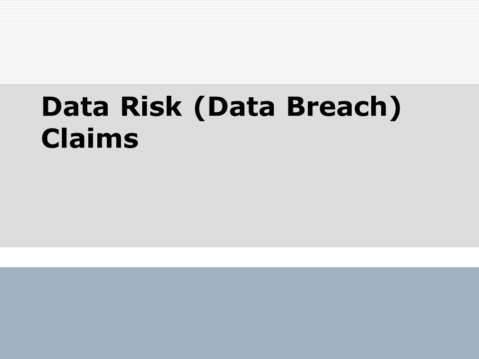 Data Risk (Data Breach) Claims