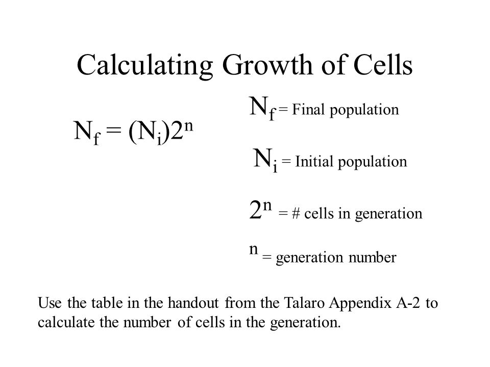 Calculating Growth of Cells N f = (N i )2 n N f = Final population N i = Initial population 2 n = # cells in generation n = generation number Use the
