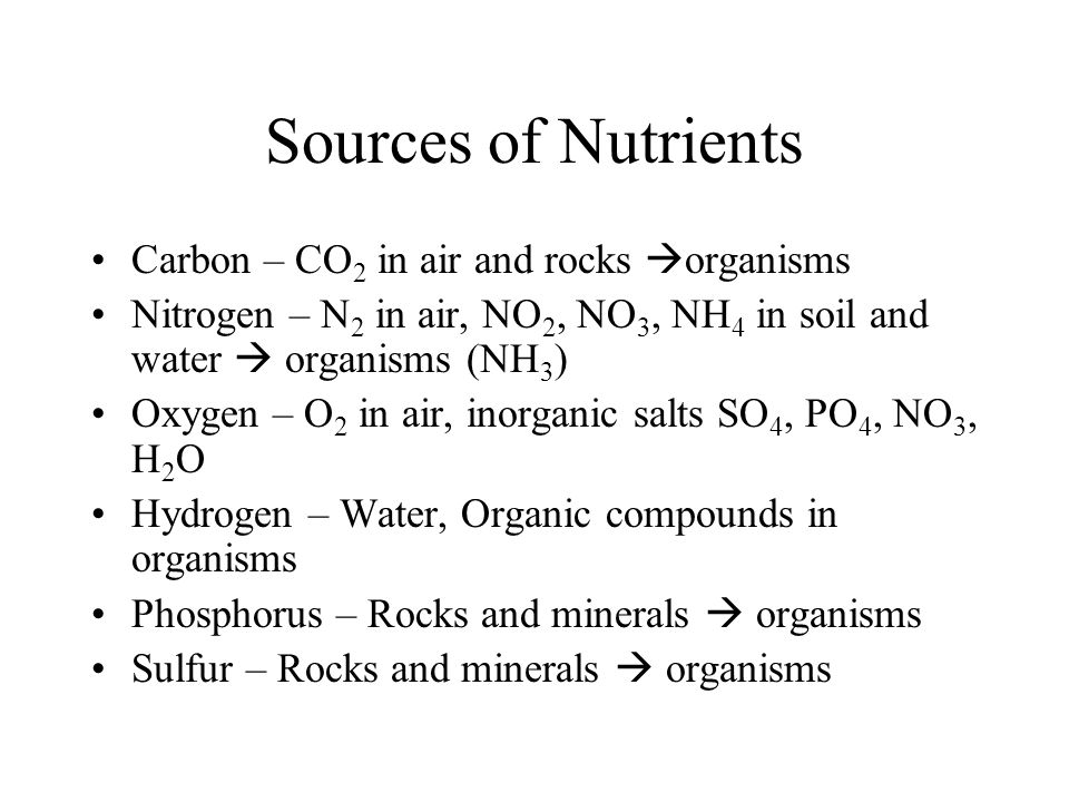 Sources of Nutrients Carbon – CO 2 in air and rocks organisms Nitrogen – N 2 in air, NO 2, NO 3, NH 4 in soil and water organisms (NH 3 ) Oxygen – O 2