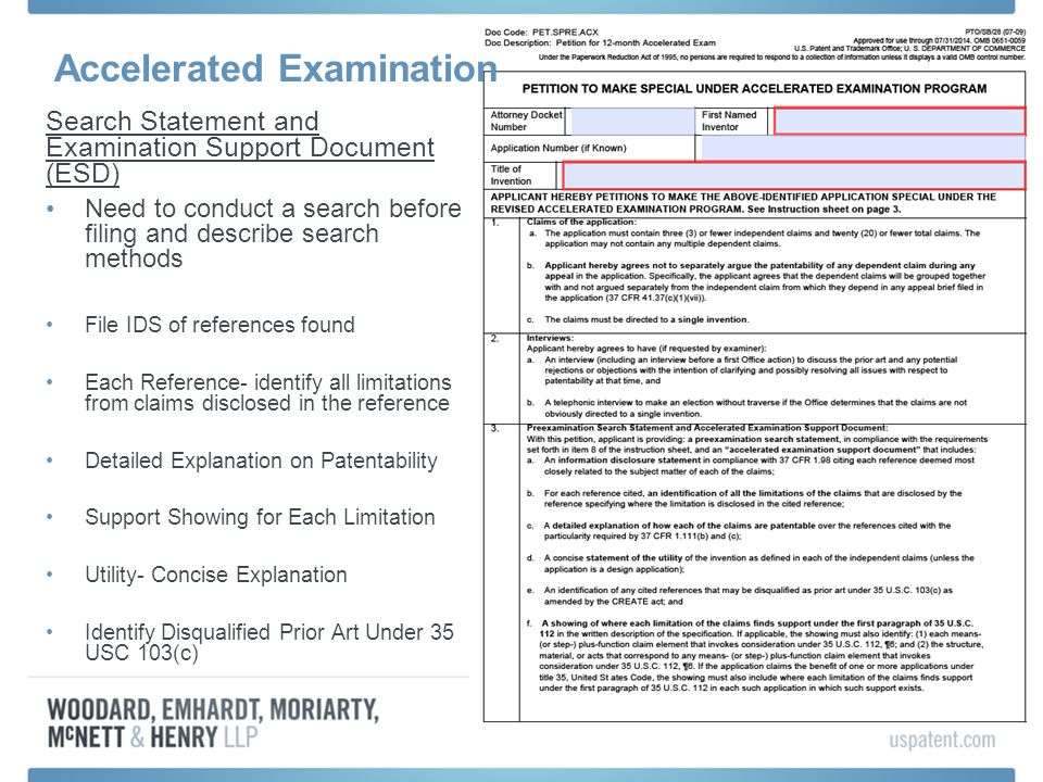 Accelerated Examination Search Statement and Examination Support Document (ESD) Need to conduct a search before filing and describe search methods Fil
