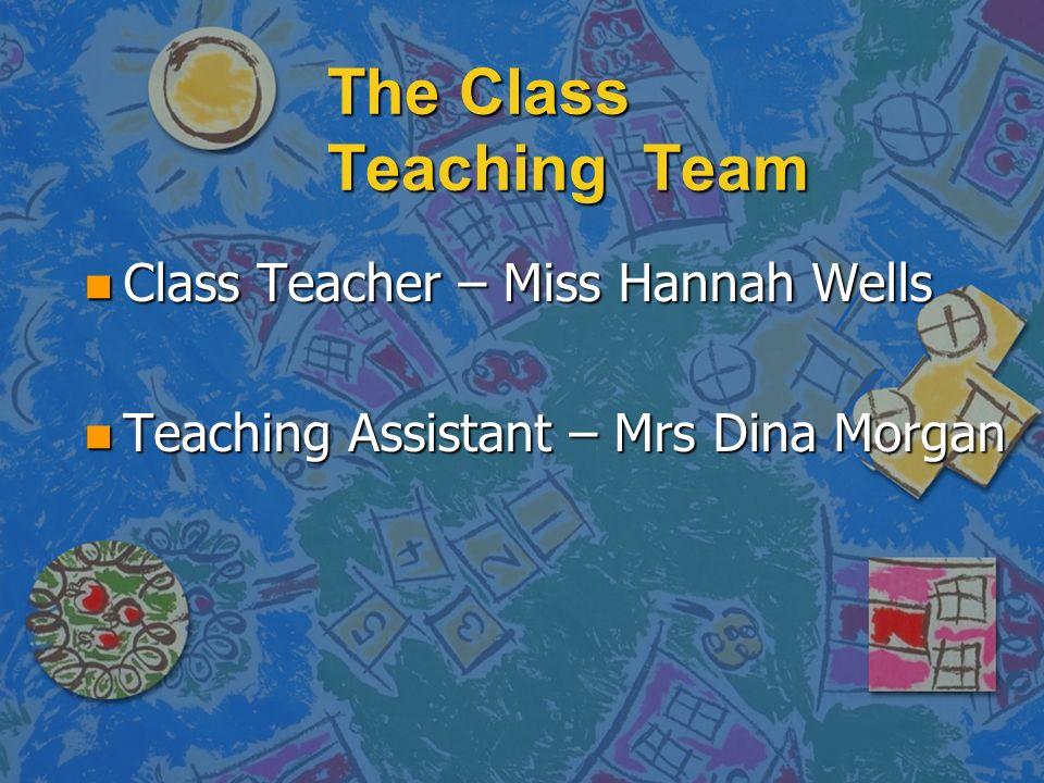 The Class Teaching Team n Class Teacher – Miss Hannah Wells n Teaching Assistant – Mrs Dina Morgan