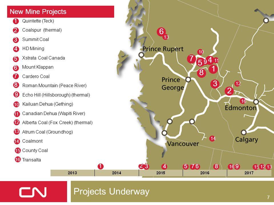 7 Projects Underway 6 5 1 4 3 2 New Mine Projects Quintette (Teck) Coalspur (thermal) Summit Coal HD Mining Xstrata Coal Canada Mount Klappan Cardero