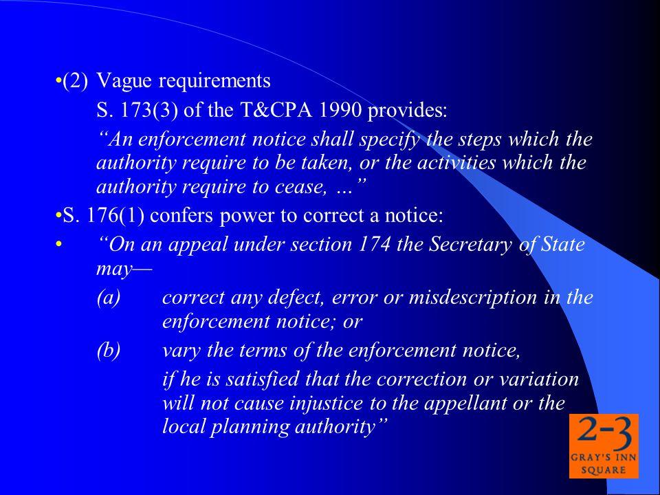 (2) Vague requirements S.