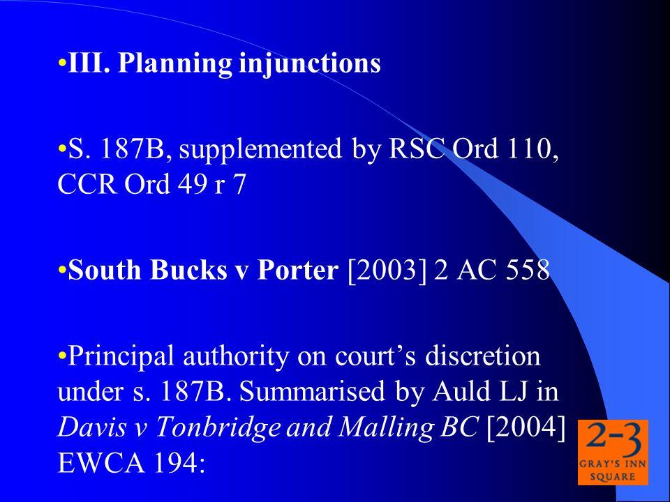 III. Planning injunctions S.