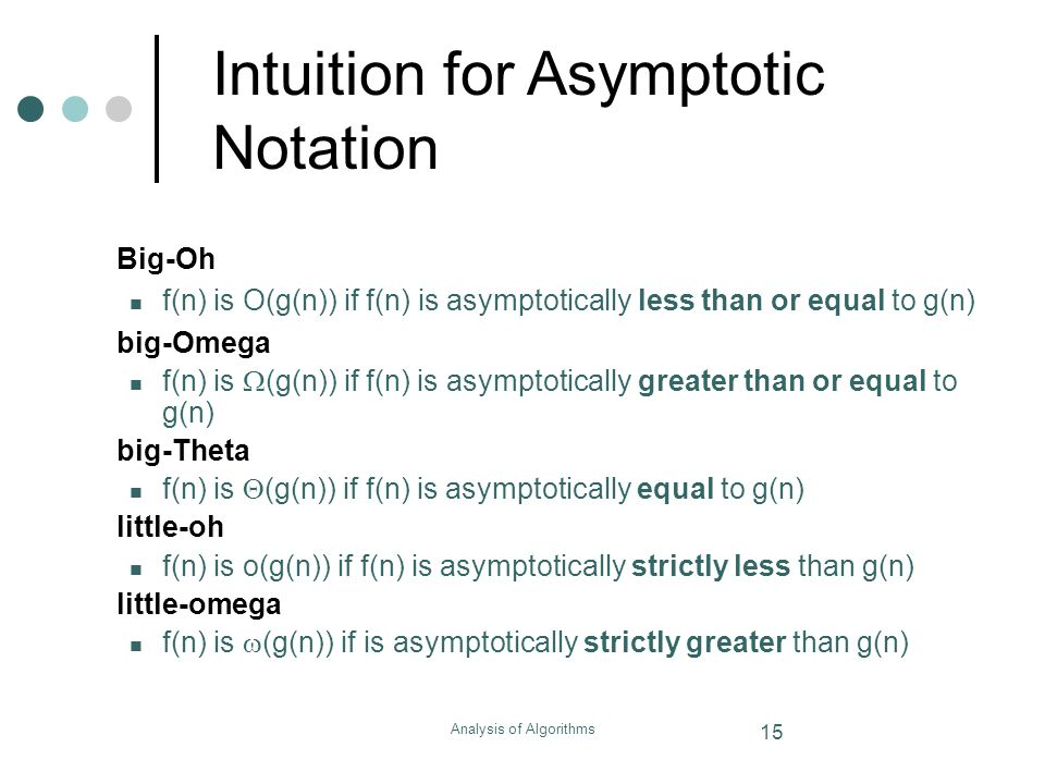 Analysis of Algorithms 15 Intuition for Asymptotic Notation Big-Oh f(n) is O(g(n)) if f(n) is asymptotically less than or equal to g(n) big-Omega f(n)