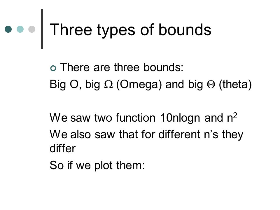 Three types of bounds There are three bounds: Big O, big (Omega) and big (theta) We saw two function 10nlogn and n 2 We also saw that for different ns