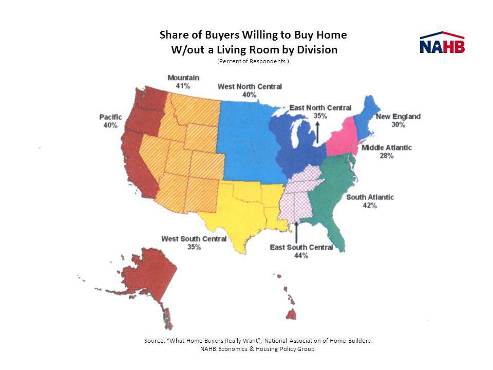 Share of Buyers Willing to Buy Home W/out a Living Room by Division (Percent of Respondents ) Source: What Home Buyers Really Want, National Associati