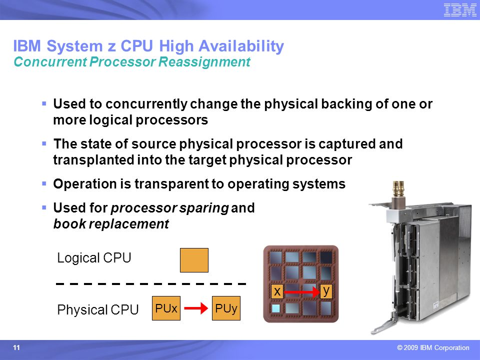 © 2009 IBM Corporation 11 Used to concurrently change the physical backing of one or more logical processors The state of source physical processor is