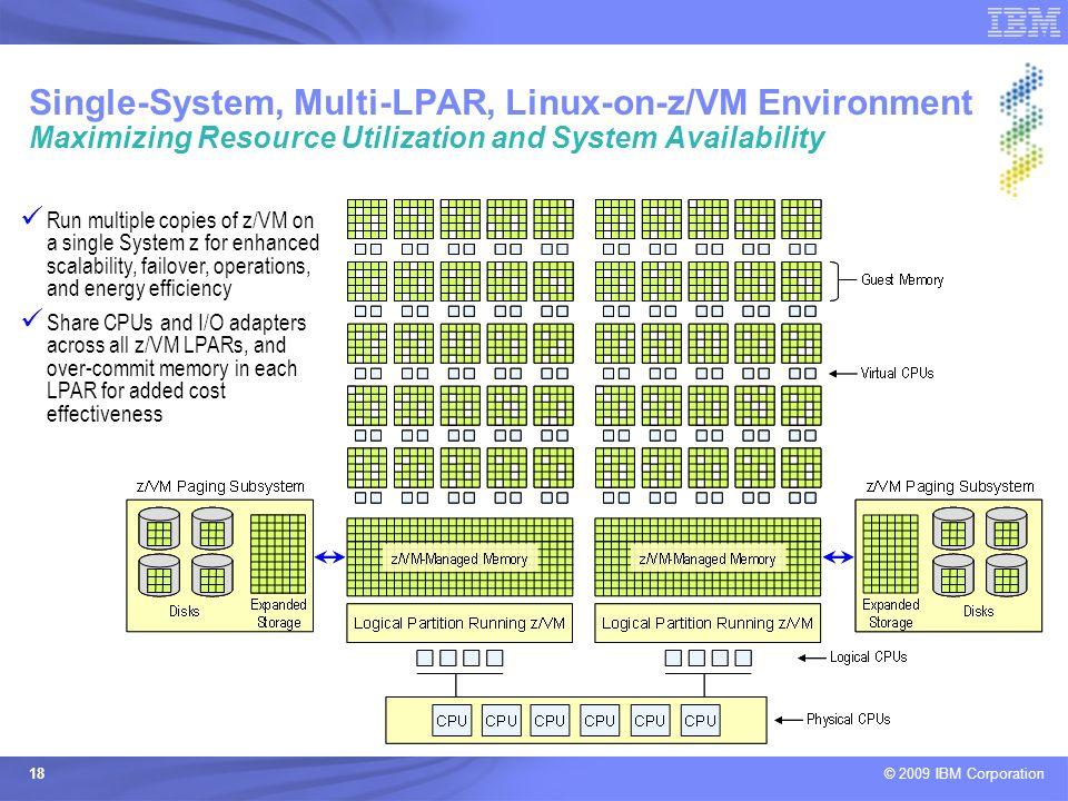 © 2009 IBM Corporation 18 Single-System, Multi-LPAR, Linux-on-z/VM Environment Maximizing Resource Utilization and System Availability Run multiple co