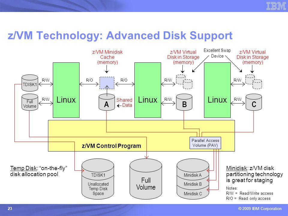 © 2009 IBM Corporation 23 z/VM Technology: Advanced Disk Support Parallel Access Volume (PAV) Linux z/VM Virtual Disk in Storage (memory) Excellent Sw