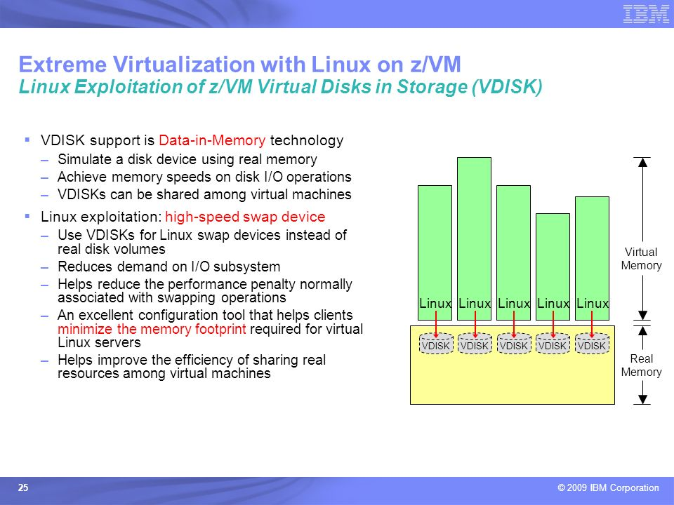 © 2009 IBM Corporation 25 Extreme Virtualization with Linux on z/VM Linux Exploitation of z/VM Virtual Disks in Storage (VDISK) Virtual Memory Real Me
