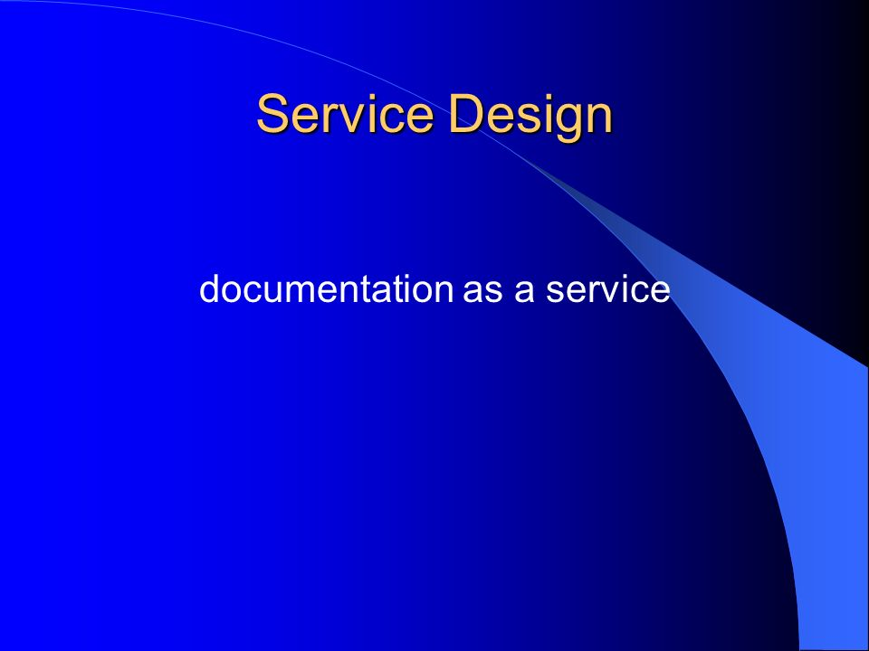 Service Design documentation as a service
