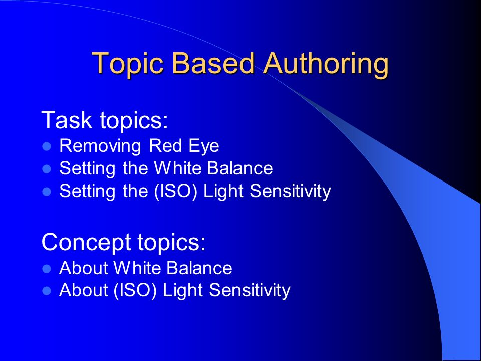 Topic Based Authoring Task topics: Removing Red Eye Setting the White Balance Setting the (ISO) Light Sensitivity Concept topics: About White Balance About (ISO) Light Sensitivity