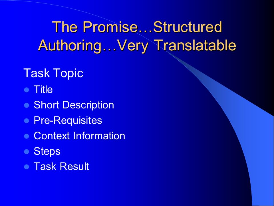 The Promise…Structured Authoring…Very Translatable Task Topic Title Short Description Pre-Requisites Context Information Steps Task Result