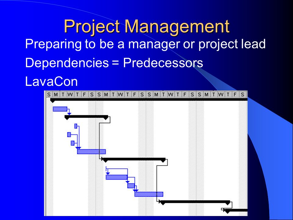 Project Management Preparing to be a manager or project lead Dependencies = Predecessors LavaCon
