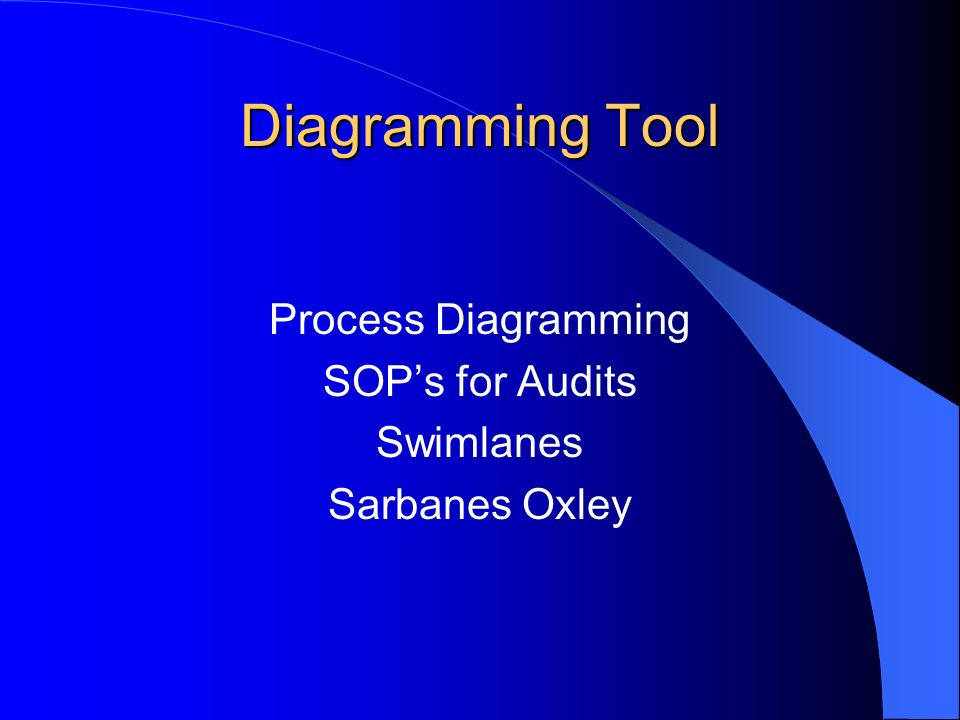 Diagramming Tool Process Diagramming SOPs for Audits Swimlanes Sarbanes Oxley