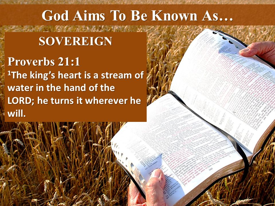 God Aims To Be Known As… SOVEREIGN Proverbs 21:1 1 The kings heart is a stream of water in the hand of the LORD; he turns it wherever he will.