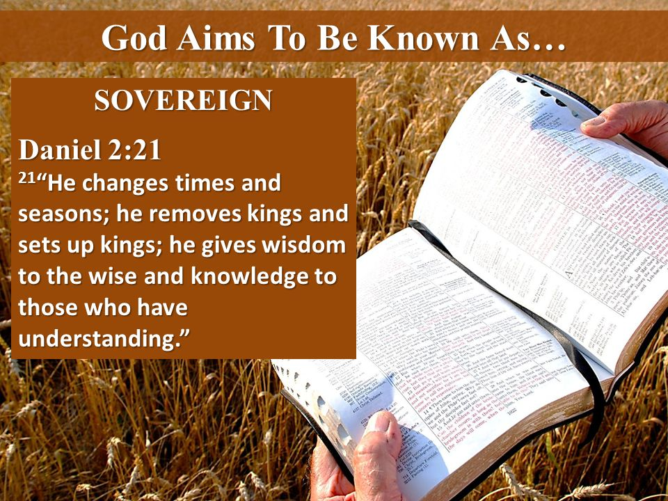 God Aims To Be Known As… SOVEREIGN Daniel 2:21 21 He changes times and seasons; he removes kings and sets up kings; he gives wisdom to the wise and kn