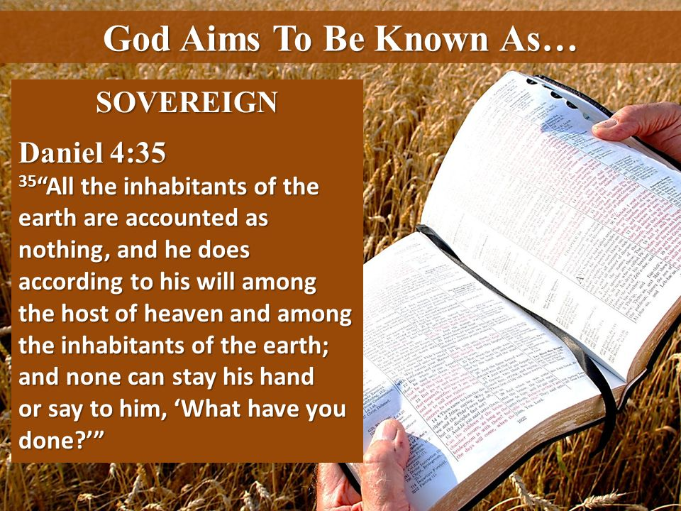 God Aims To Be Known As… SOVEREIGN Daniel 4:35 35 All the inhabitants of the earth are accounted as nothing, and he does according to his will among t