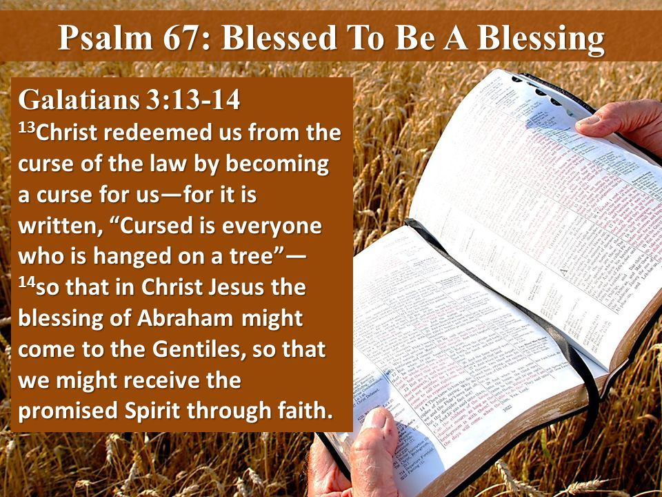 Galatians 3:13-14 13 Christ redeemed us from the curse of the law by becoming a curse for usfor it is written, Cursed is everyone who is hanged on a t