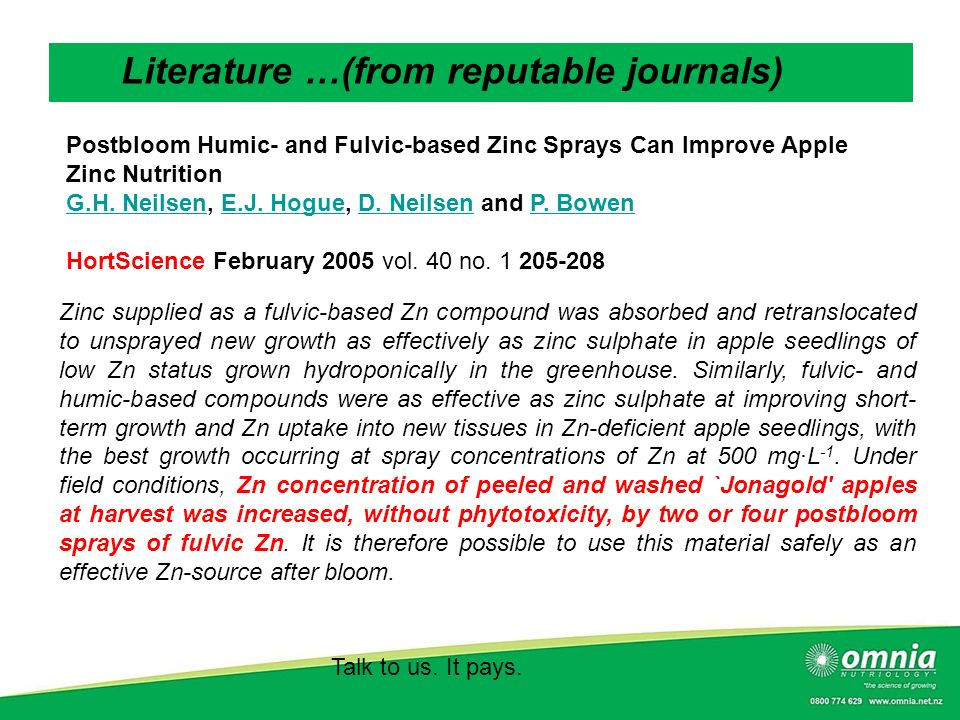 Talk to us. It pays. Literature …(from reputable journals) Postbloom Humic- and Fulvic-based Zinc Sprays Can Improve Apple Zinc Nutrition G.H. Neilsen