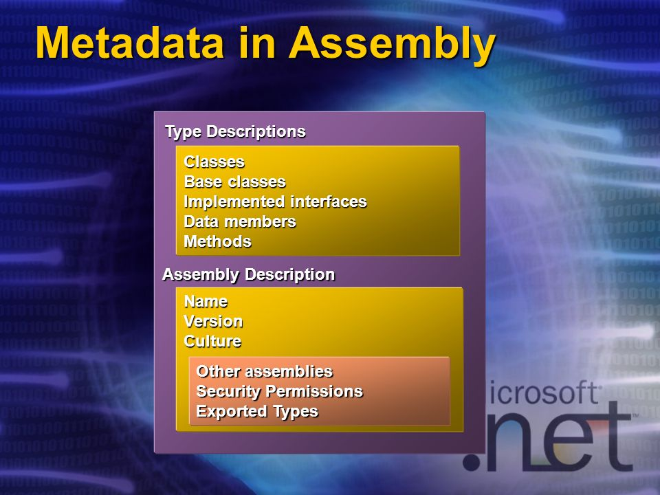 Metadata in Assembly Type Descriptions Classes Base classes Implemented interfaces Data members Methods NameVersionCulture Assembly Description Other assemblies Security Permissions Exported Types