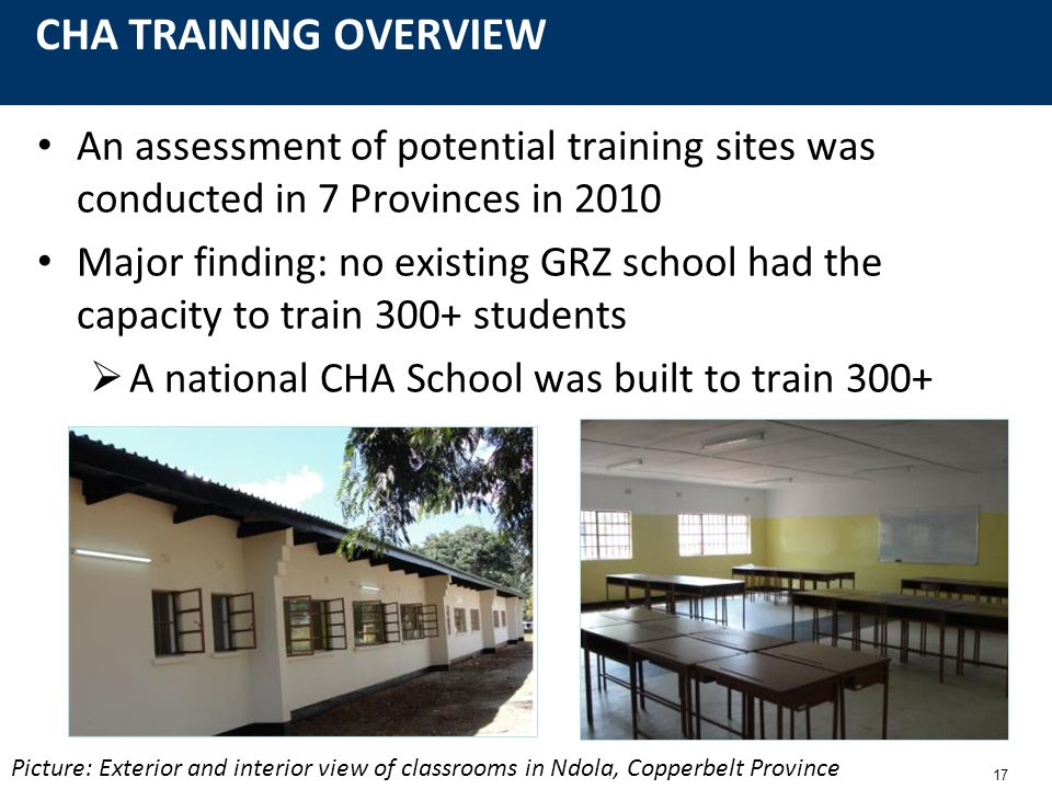 17 CHA TRAINING OVERVIEW An assessment of potential training sites was conducted in 7 Provinces in 2010 Major finding: no existing GRZ school had the