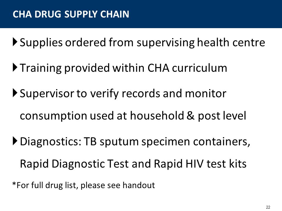 22 Supplies ordered from supervising health centre Training provided within CHA curriculum Supervisor to verify records and monitor consumption used a