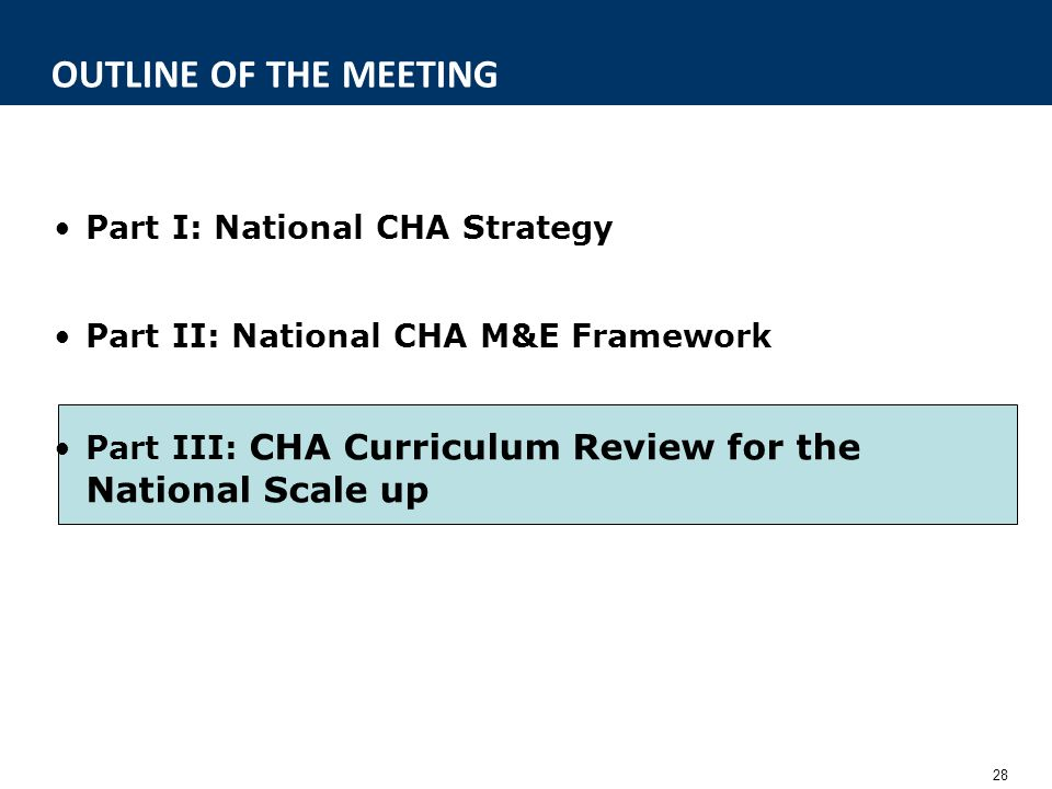 28 OUTLINE OF THE MEETING Part I: National CHA Strategy Part II: National CHA M&E Framework Part III: CHA Curriculum Review for the National Scale up