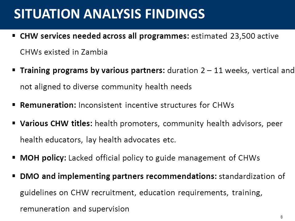 8 CHW services needed across all programmes: estimated 23,500 active CHWs existed in Zambia Training programs by various partners: duration 2 – 11 wee