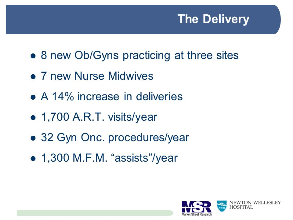 The Delivery 8 new Ob/Gyns practicing at three sites 7 new Nurse Midwives A 14% increase in deliveries 1,700 A.R.T. visits/year 32 Gyn Onc. procedures