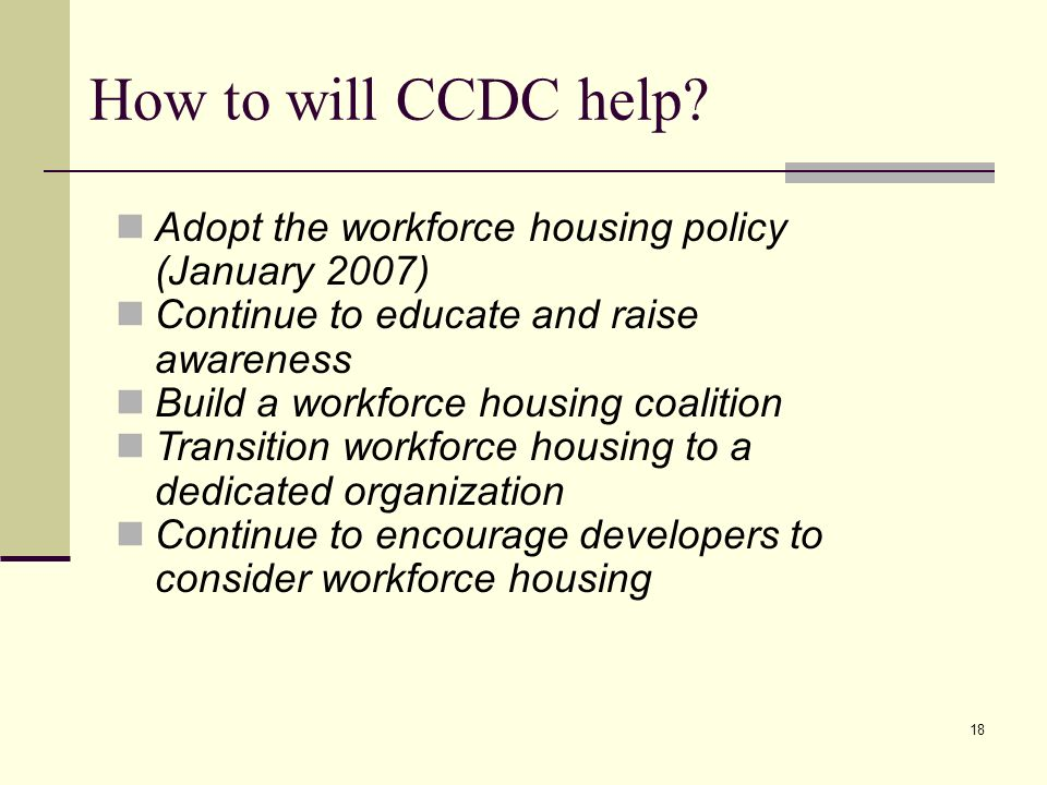 18 How to will CCDC help.