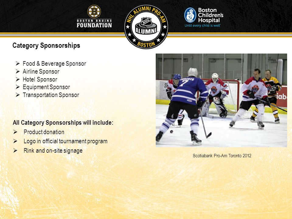 All Category Sponsorships will include: Product donation Logo in official tournament program Rink and on-site signage Food & Beverage Sponsor Airline
