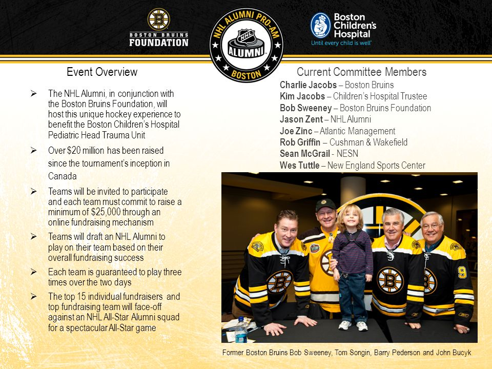 The NHL Alumni, in conjunction with the Boston Bruins Foundation, will host this unique hockey experience to benefit the Boston Childrens Hospital Ped