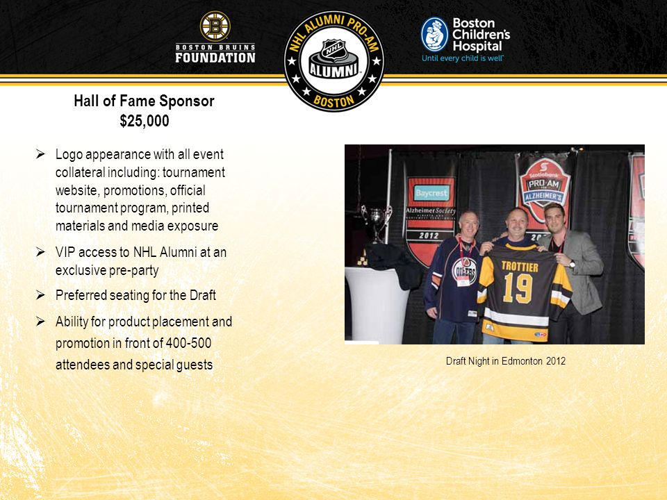 Draft Night in Edmonton 2012 Logo appearance with all event collateral including: tournament website, promotions, official tournament program, printed