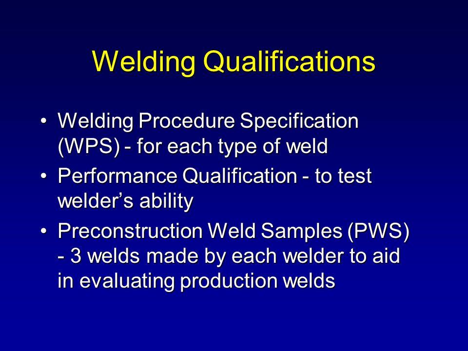 Welding Qualifications Welding Procedure Specification (WPS) - for each type of weldWelding Procedure Specification (WPS) - for each type of weld Perf