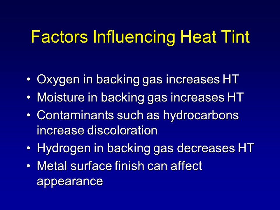 Factors Influencing Heat Tint Oxygen in backing gas increases HTOxygen in backing gas increases HT Moisture in backing gas increases HTMoisture in bac