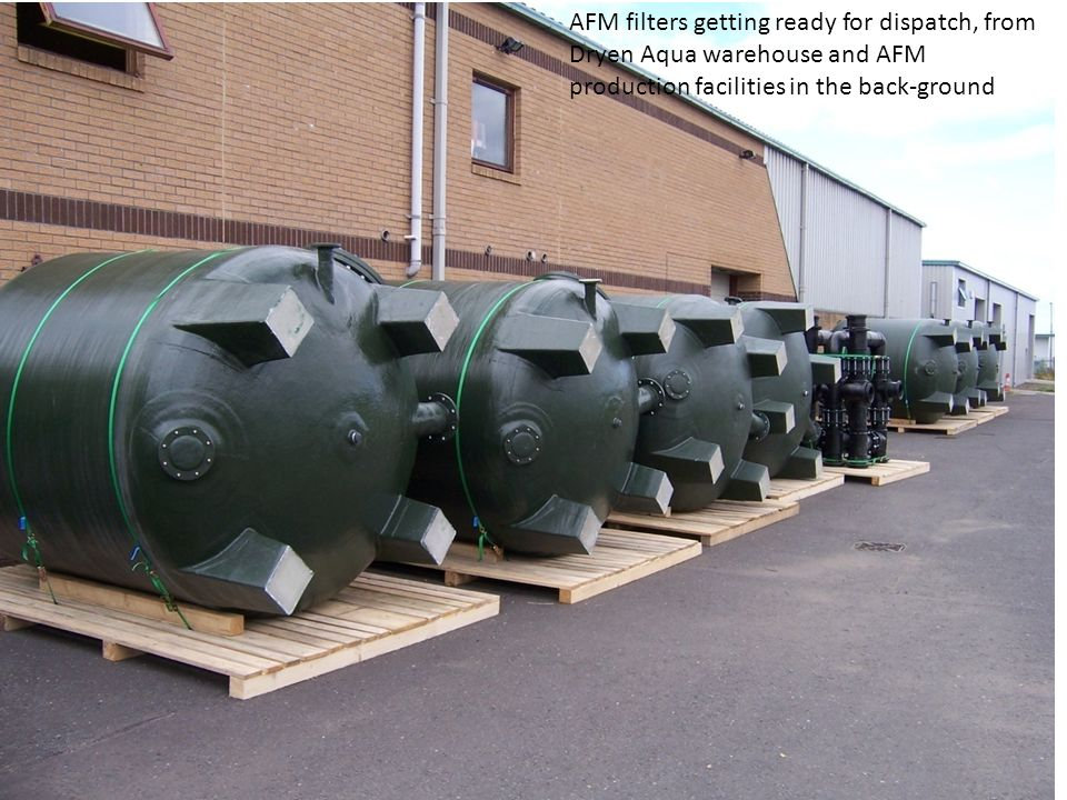 AFM filters getting ready for dispatch, from Dryen Aqua warehouse and AFM production facilities in the back-ground