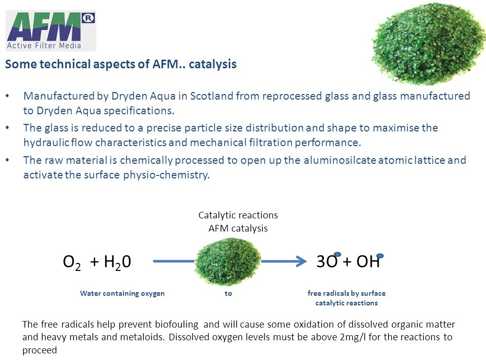 Some technical aspects of AFM.. catalysis Manufactured by Dryden Aqua in Scotland from reprocessed glass and glass manufactured to Dryden Aqua specifi