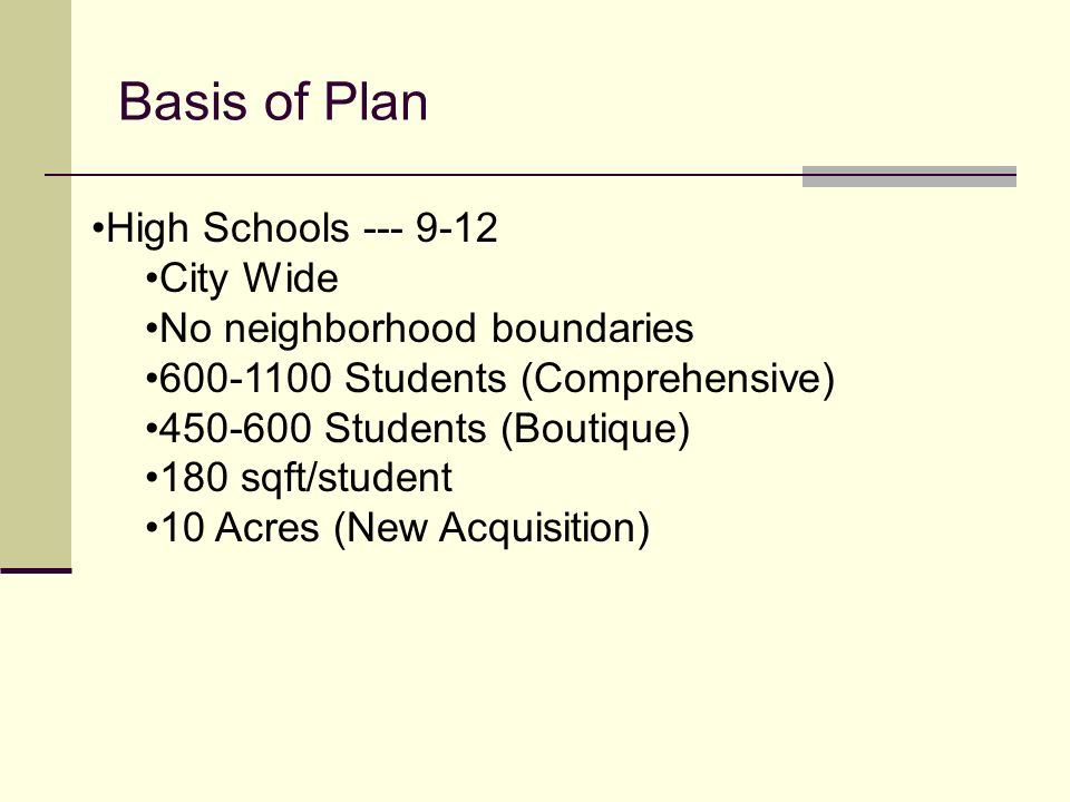 Basis of Plan High Schools --- 9-12 City Wide No neighborhood boundaries 600-1100 Students (Comprehensive) 450-600 Students (Boutique) 180 sqft/studen