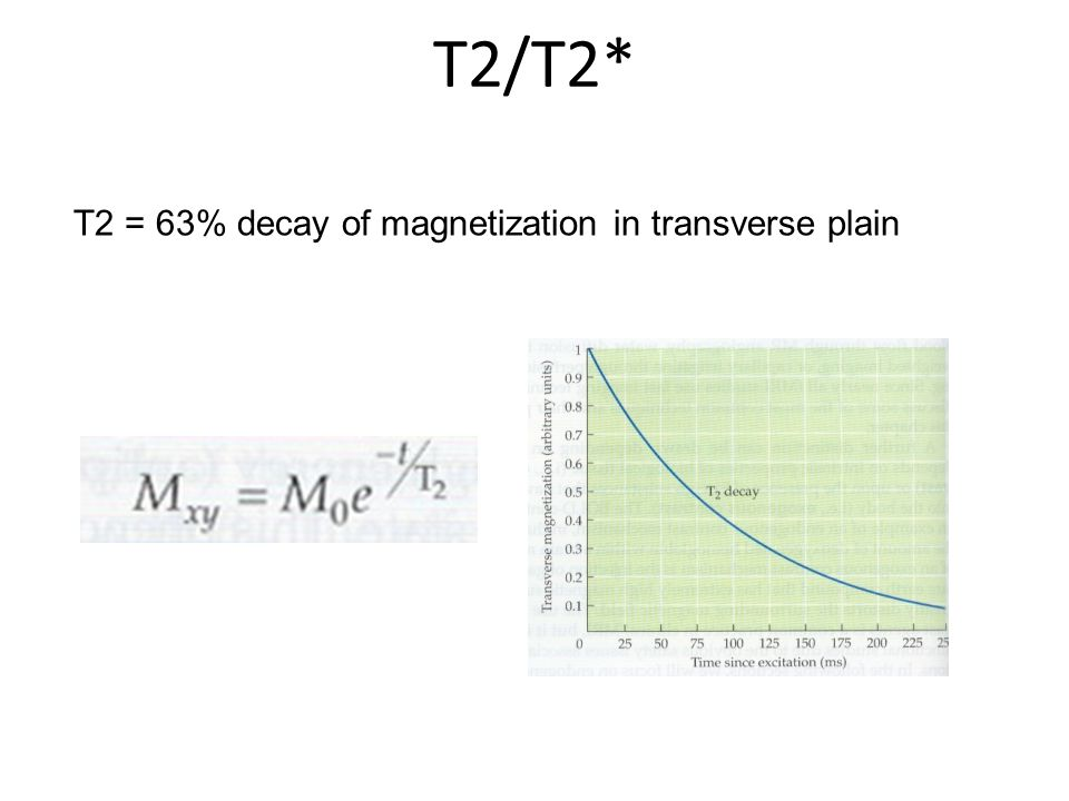 T2/T2* T2 = 63% decay of magnetization in transverse plain