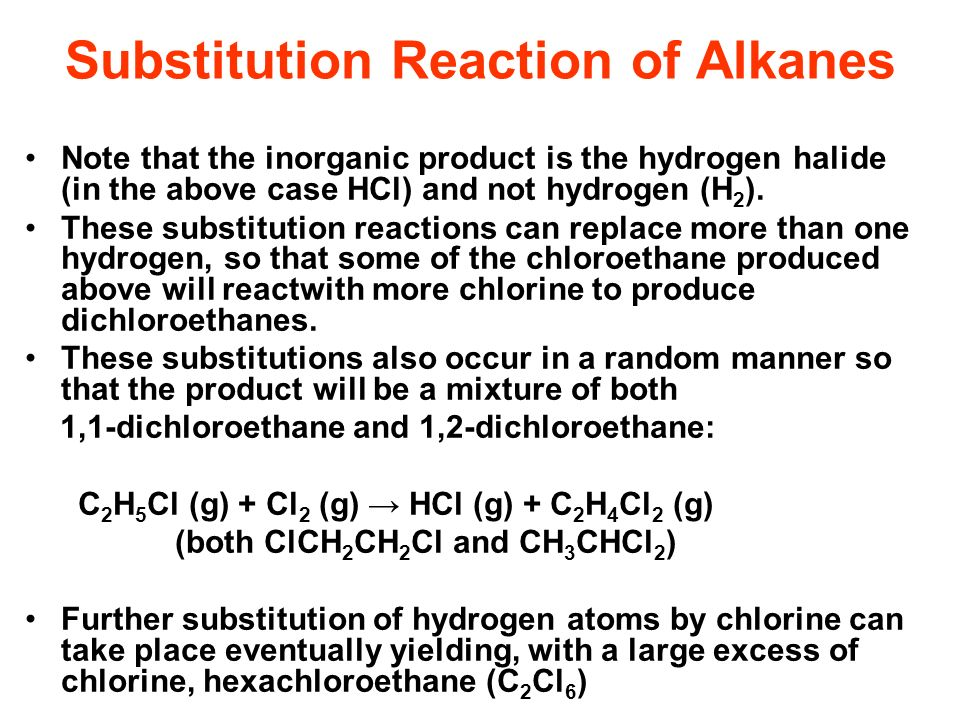 Substitution Reaction of Alkanes Note that the inorganic product is the hydrogen halide (in the above case HCl) and not hydrogen (H 2 ). These substit