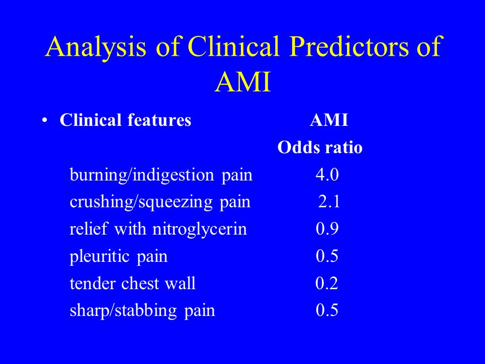 Analysis of Clinical Predictors of AMI Clinical features AMI Odds ratio burning/indigestion pain 4.0 crushing/squeezing pain 2.1 relief with nitroglyc