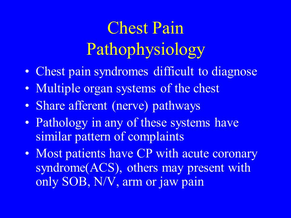 Chest Pain Pathophysiology Chest pain syndromes difficult to diagnose Multiple organ systems of the chest Share afferent (nerve) pathways Pathology in